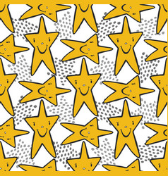 hand drawn sketch stars seamless pattern childish vector image