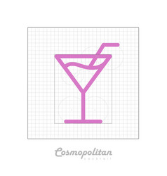 icon of cocktail with modular grid cosmopolitan vector image