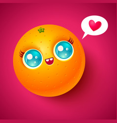 kawaii orange vector image