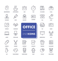 line icons set office vector image