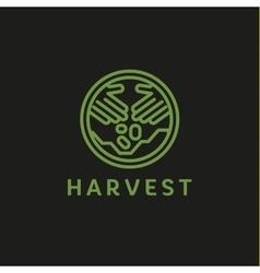 Logo outline horticulture crop plant soil style vector