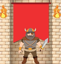 Male viking with red banner vector