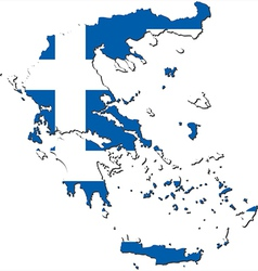 Map of greece with national flag vector
