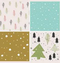 merry christmas seamless pattern set background vector image vector image