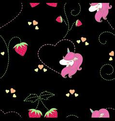 Pattern strawbwrry amp unicorn cute vector