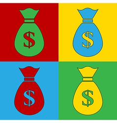 Pop art money icons vector image vector image