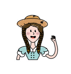 Pretty woman with hat and blouse vector