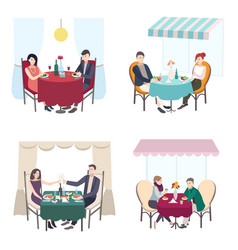 romantic couple dinner in cafe restaurant set of vector image vector image