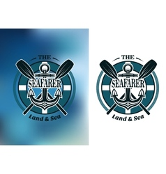 Seafarer badges with crossed oars vector image