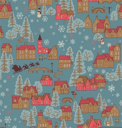 Seamless pattern winter town vector