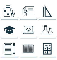 set of 9 school icons includes chemical library vector image