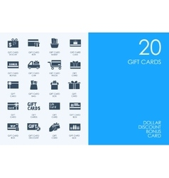 Set of blue hamster library gift cards icons vector