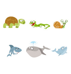 six animals set vector image