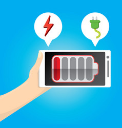 smartphone with red low battery icon on screen vector image vector image