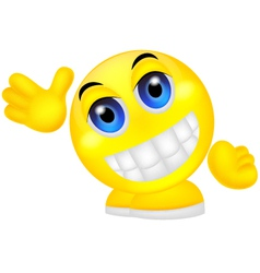 Smiley emoticon waving hand vector image vector image