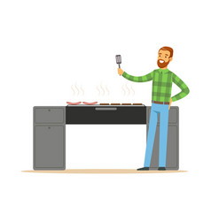 Smiling bearded man preparing sausages on a grill vector