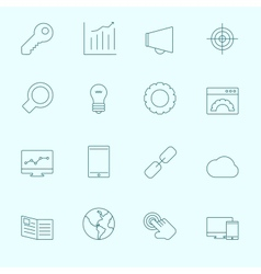 Thin seo icons vector