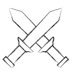 warrior swords isolated icon vector image
