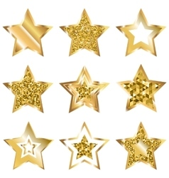 Golden five pointed star icon set vector