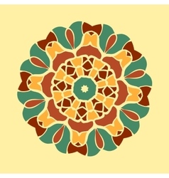 Green and brown mandala ornament symmetry seamless vector