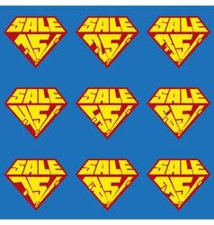 Set of sale percents banner templates vector