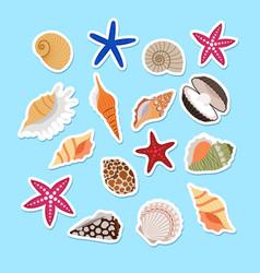 Sea shells cute stickers vector