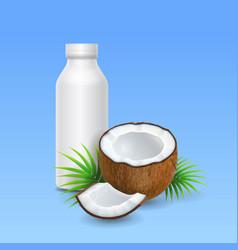 coconut milk or yogurt and bottle design vector image
