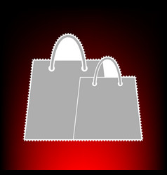 shopping bags sign postage stamp or old photo vector image