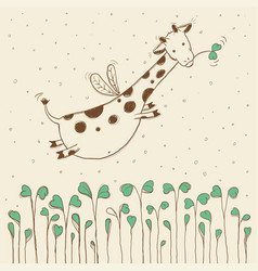 hand-drawn flying giraffe vector image