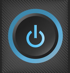 Black plastic power button with blue light vector