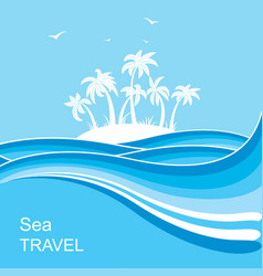 Tropical islandsea waves blue background vector
