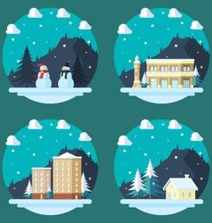 Pack of flat design winter scenes vector image