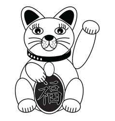 Chinese style cat with good luck sign vector