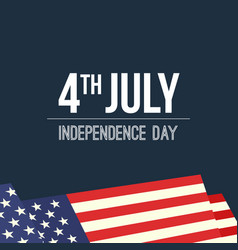 4th of july waving usa flag background vector image vector image