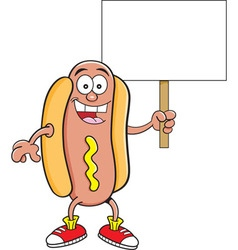 Cartoon hotdog holding a sign vector