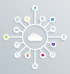 Cloud computing concept background with a lot of vector