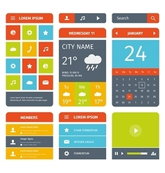 Colorful set of flat mobile app design and icons vector