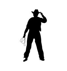 Cowboy silhouette black vector image