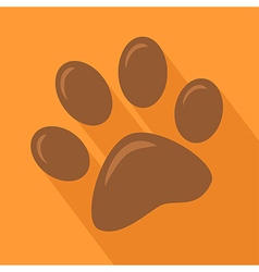 Brown Paw Print Icon vector image