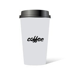 Plastic cup of coffee with hand drawn inscription vector image