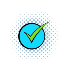 Green tick check mark icon comics style vector