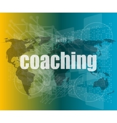 Coaching word on touch screen modern virtual vector