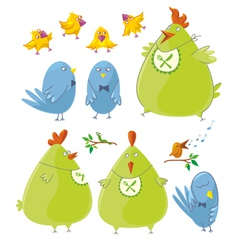 Personages cute birds vector