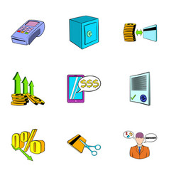 Auction sale icons set cartoon style vector