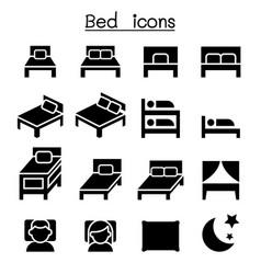 bedroom mattress icon set vector image vector image