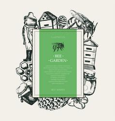 Bee garden - modern drawn square postcard template vector