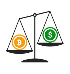 bitcoin vs dollar concept with balance vector image