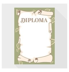 Blank diploma as a roll of old paper vector