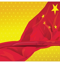 China flag in the wind of win gold sky vector image vector image