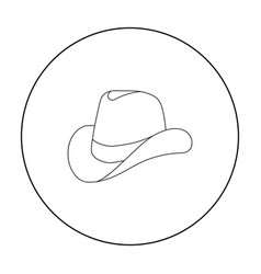 Cowboy hat icon in outline style isolated on white vector